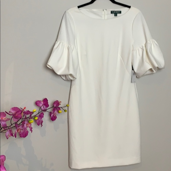 NWT Lauren White puff sleeved dress